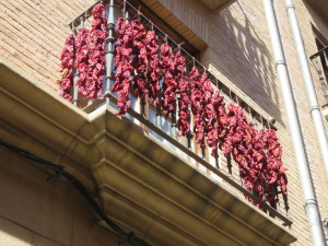 Peppers drying on a balcony in Viana