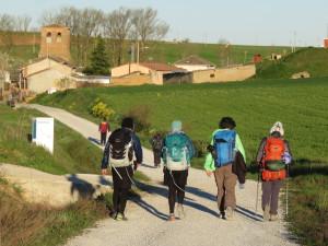 Walking out of Terradillos de los Templarios (the halfway point) with Friends